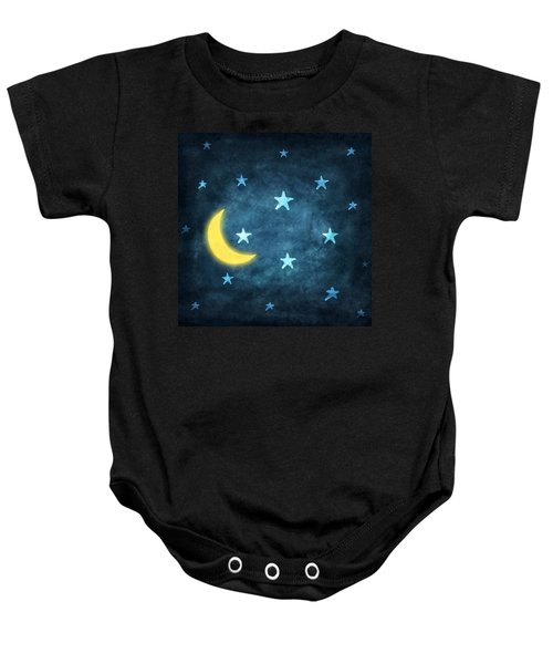 Stars And Moon Drawing With Chalk Baby Onesie