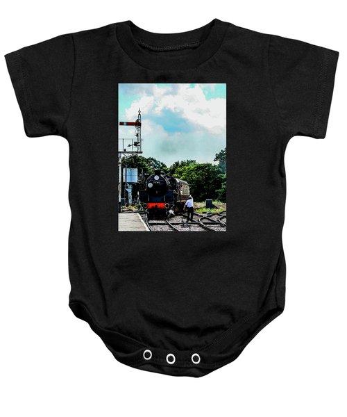 Steam Train Approaching Baby Onesie