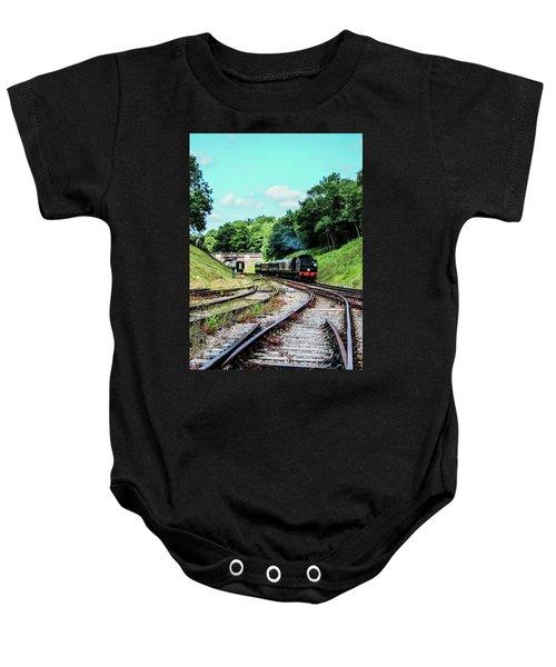 Steam Train Nr The Bridge Baby Onesie