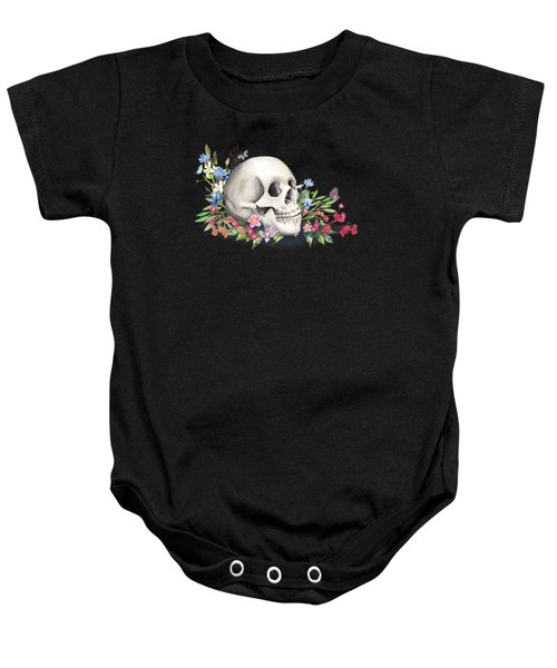 Still Life With Skull And Wildflowers Baby Onesie