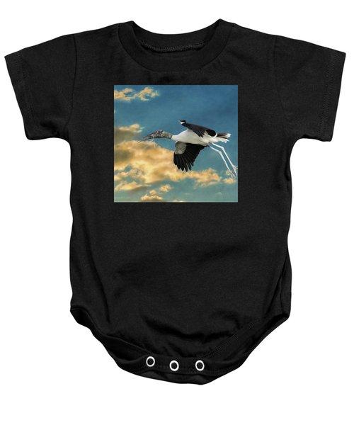 Stork Bringing Nesting Material Baby Onesie