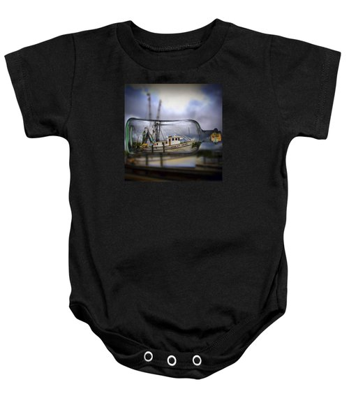 Baby Onesie featuring the photograph Stormy Seas - Ship In A Bottle by Bill Barber
