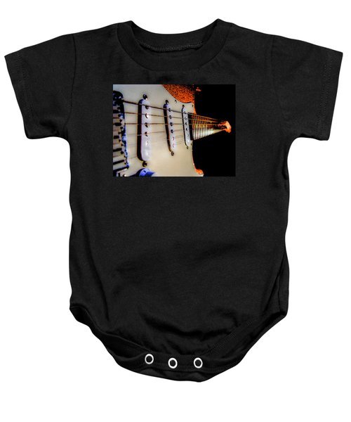 Baby Onesie featuring the photograph Stratocaster Pop Art Tangerine Sparkle Fire Neck Series by Guitar Wacky