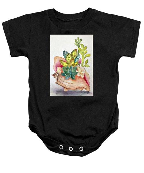 Succulents In Shell Baby Onesie