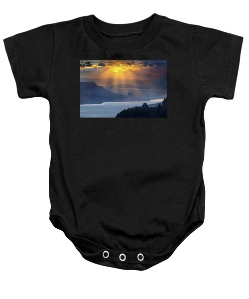 Sun Rays Over Columbia River Gorge During Sunrise Baby Onesie