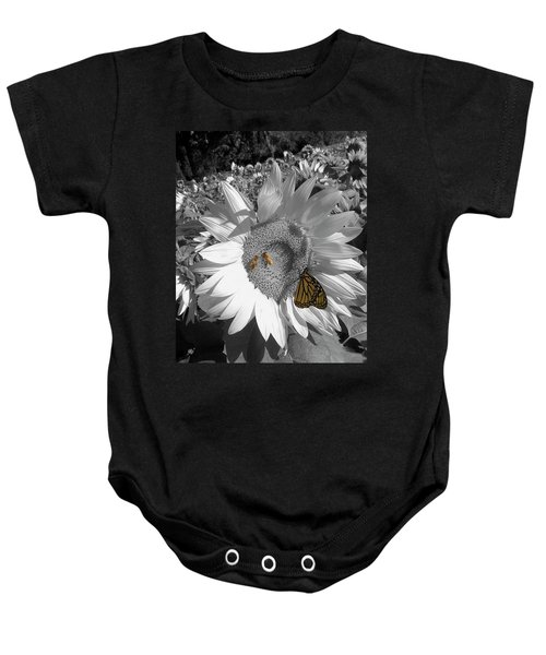 Sunflower In Black And White Baby Onesie