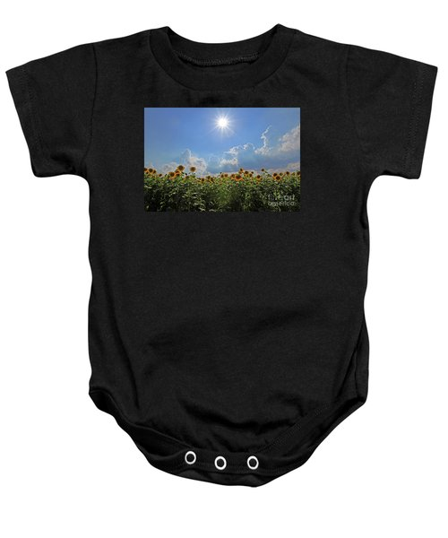 Sunflowers With Sun And Clouds 1 Baby Onesie