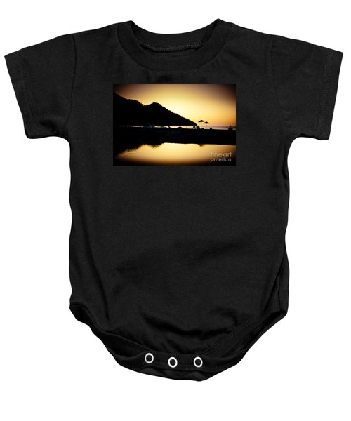 Sunrise At Sea Coast Brown Baby Onesie