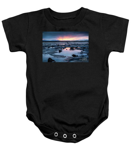 Sunrise Over The Bronze Age Sunken Forest At Borth On The West Wales Coast Uk Baby Onesie