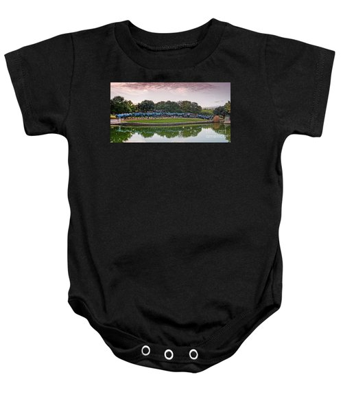 Sunrise Panorama Of Cattle Drive Sculpture At Pioneer Plaza - Downtown Dallas North Texas Baby Onesie