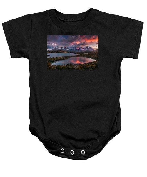 Sunrise Spectacular At Torres Del Paine. Baby Onesie