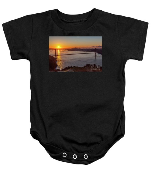 Sunrise Sunlight Hitting The Coastal Rock On The Shore Of The Go Baby Onesie