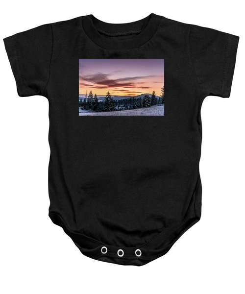 Sunset And Mountains Baby Onesie