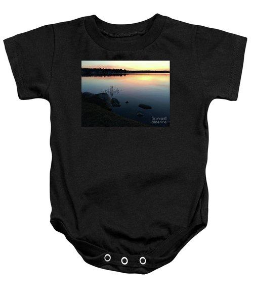Sunset At Pentwater Lake Baby Onesie
