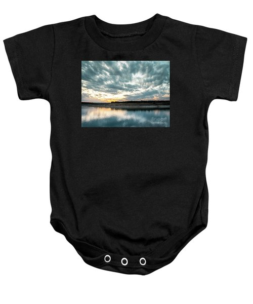 Sunset Behind Small Hill With Storm Clouds In The Sky Baby Onesie