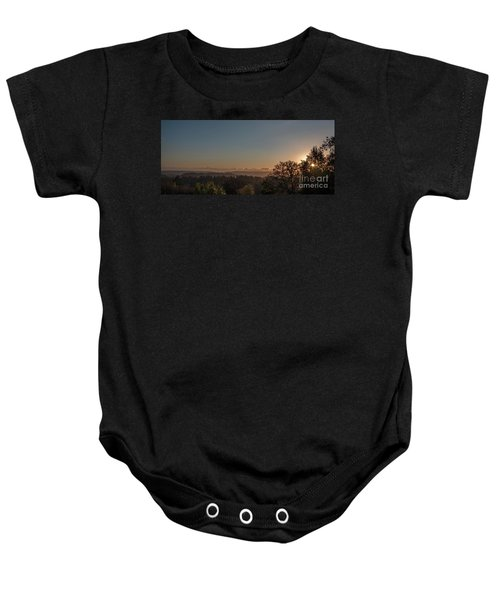 Sunset Behind Tree With Forest And Mountains In The Background Baby Onesie