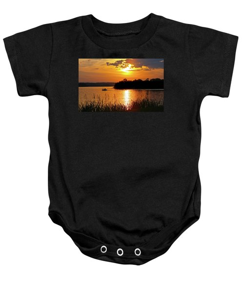 Sunset Boater, Smith Mountain Lake Baby Onesie
