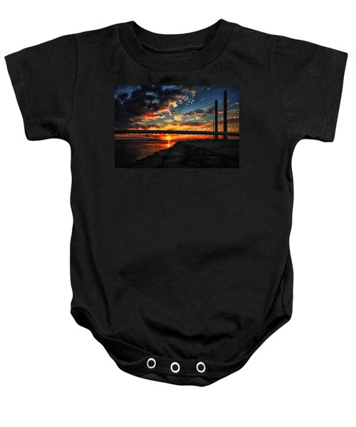 Sunset Bridge At Indian River Inlet Baby Onesie