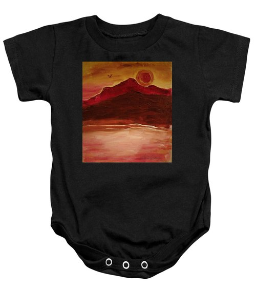 Sunset On Red Mountain Baby Onesie
