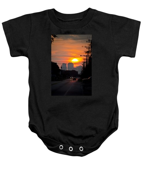 Sunset On The City Baby Onesie