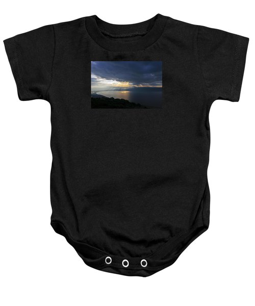 Baby Onesie featuring the photograph Sunset Over The Sea Of Galilee by Dubi Roman