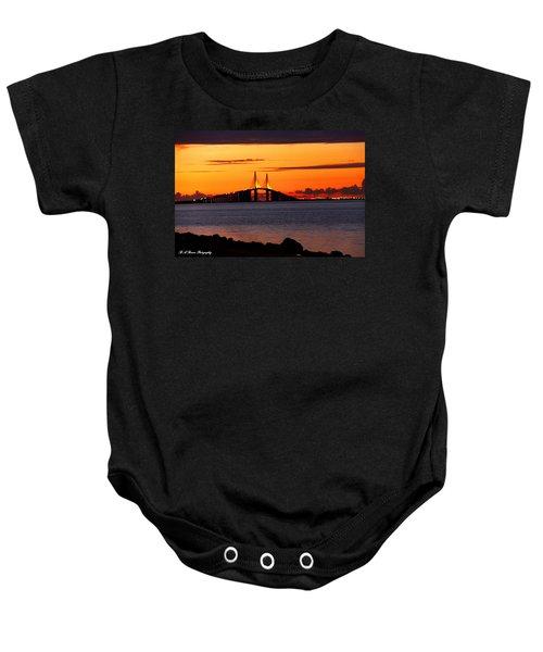 Sunset Over The Skyway Bridge Baby Onesie