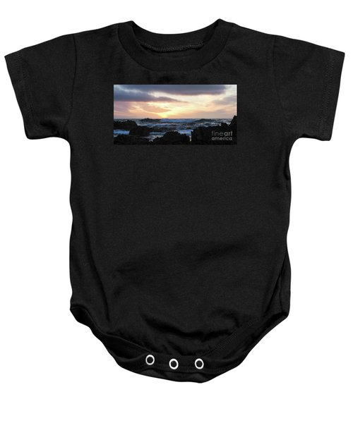 Sunset Waves, Asilomar Beach, Pacific Grove, California #30431 Baby Onesie