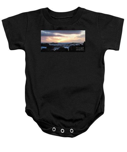 Sunset Waves, Asilomar Beach, Pacific Grove, California #30431 Baby Onesie