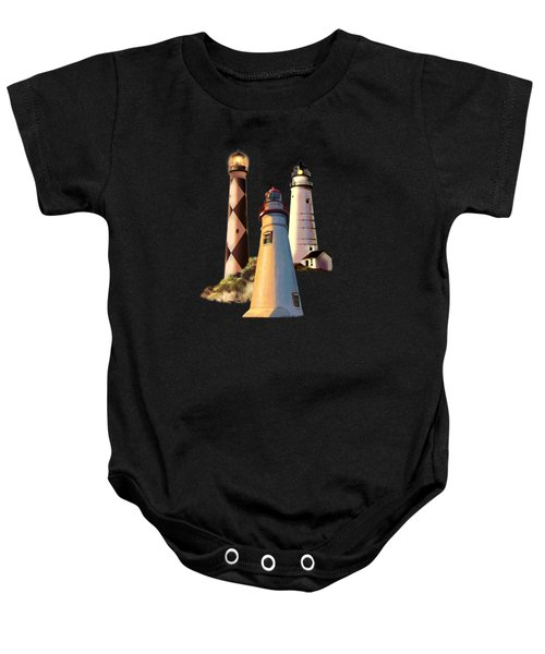 Sunset With Ohio Marble Head Lighthouse Baby Onesie