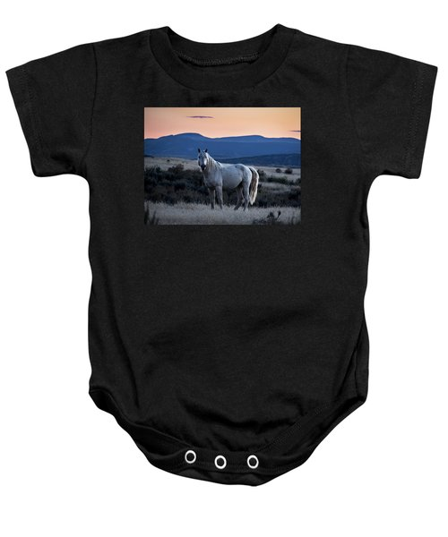 Sunset With Wild Stallion Tripod In Sand Wash Basin Baby Onesie