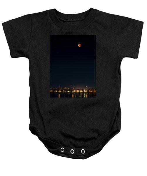 Super Blood Moon Over Ventura, California Pier Baby Onesie