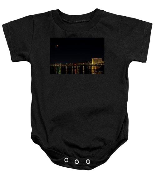 Super Blue Blood Moon Over Ventura, California Pier  Baby Onesie