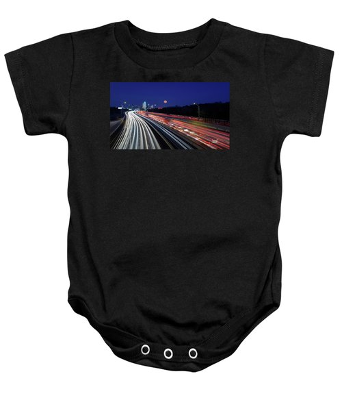 Super Moon And Dallas Texas Skyline Baby Onesie