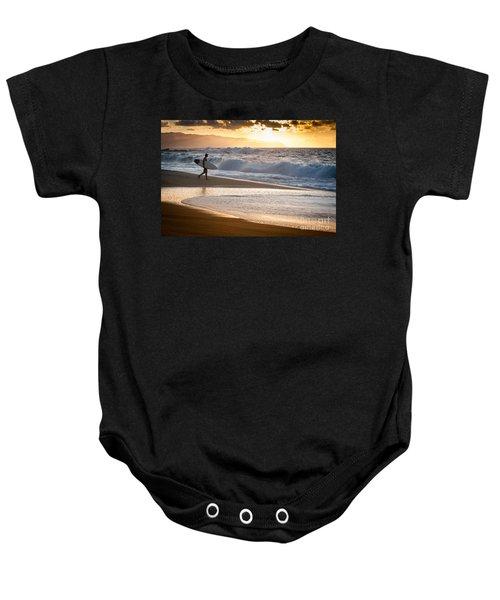 Surfer On Beach Baby Onesie