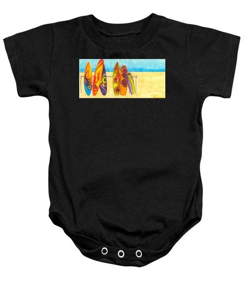 Surfing Buddies - Surf Boards At The Beach Illustration Baby Onesie