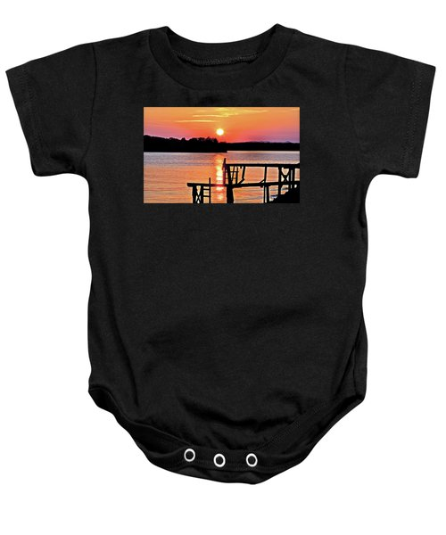 Surreal Smith Mountain Lake Dock Sunset Baby Onesie