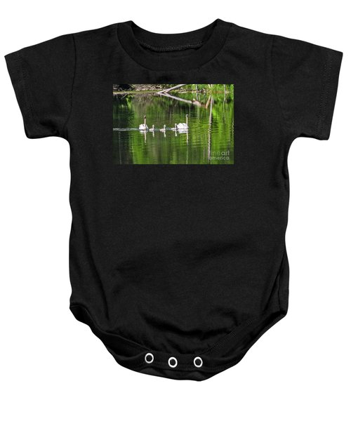 Swan Family With Triplets Baby Onesie