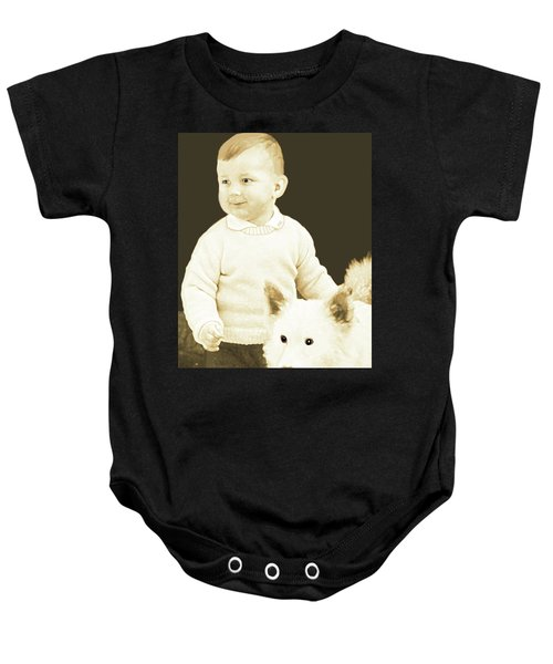 Sweet Vintage Toddler With His White Mutt Baby Onesie