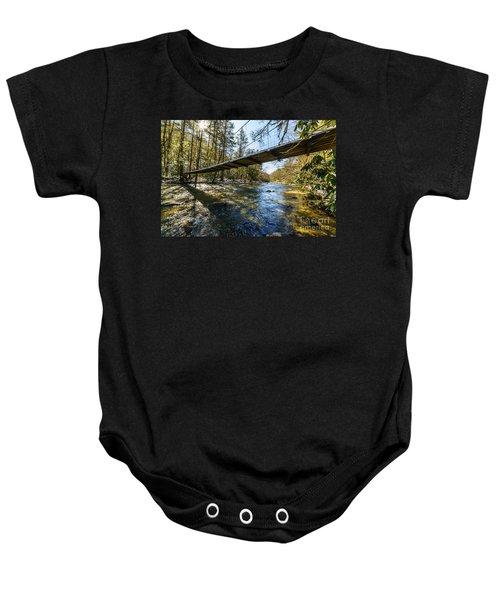 Swinging Bridge Back Fork Of Elk Baby Onesie