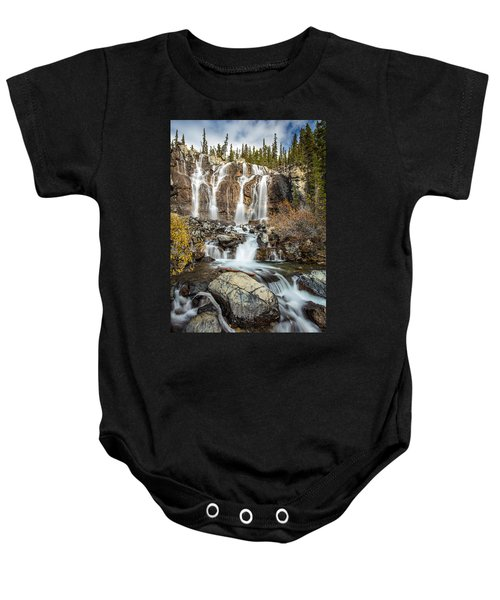 Tangle Waterfall On The Icefield Parkway Baby Onesie