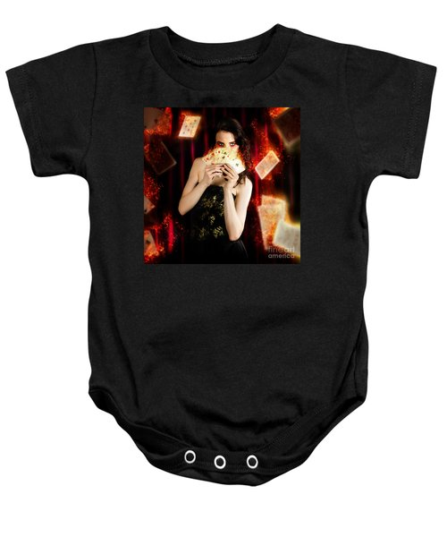 Tarot Magician Holding Magic Fire Cards Of Fate Baby Onesie