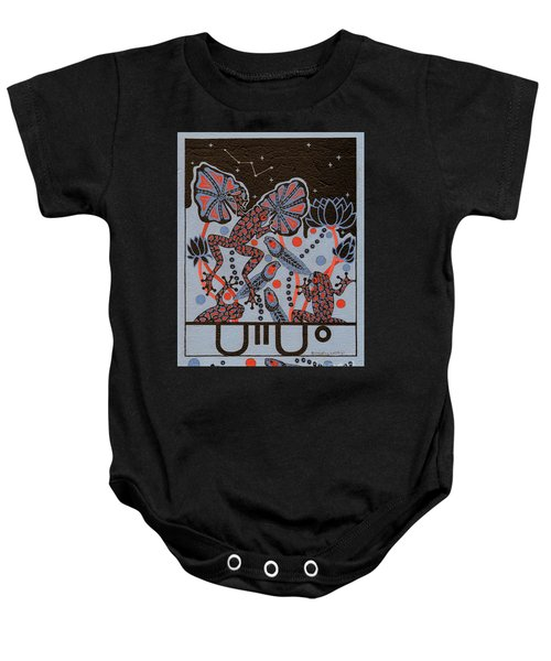 Baby Onesie featuring the painting Tehteu Little Green Frogs by Chholing Taha