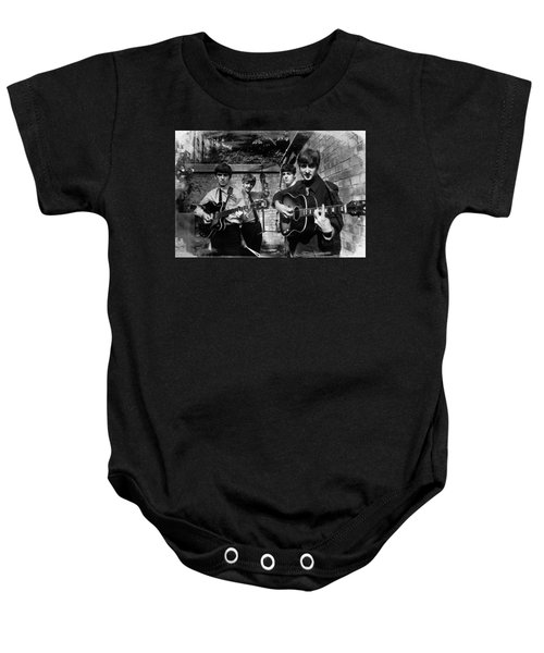 The Beatles In London 1963 Black And White Painting Baby Onesie