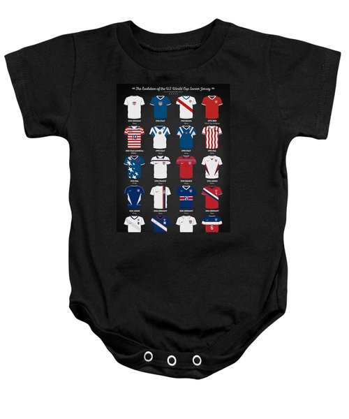 The Evolution Of The Us World Cup Soccer Jersey Baby Onesie by Taylan Apukovska