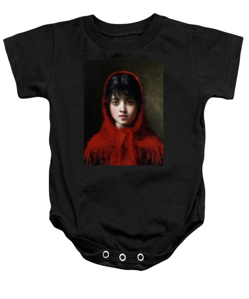 The Girl In The Red Shawl Baby Onesie