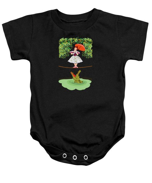 The Girl With A Crocodile  Baby Onesie