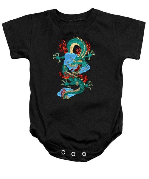 The Great Dragon Spirits - Turquoise Dragon On Black Silk Baby Onesie