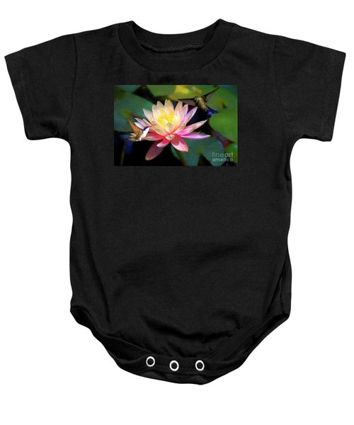 The Grutas Water Lillie With Hummingbirds Baby Onesie