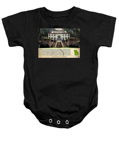 The Hunger Games Catching Fire Movie Location And Map Baby Onesie by Pablo Franchi