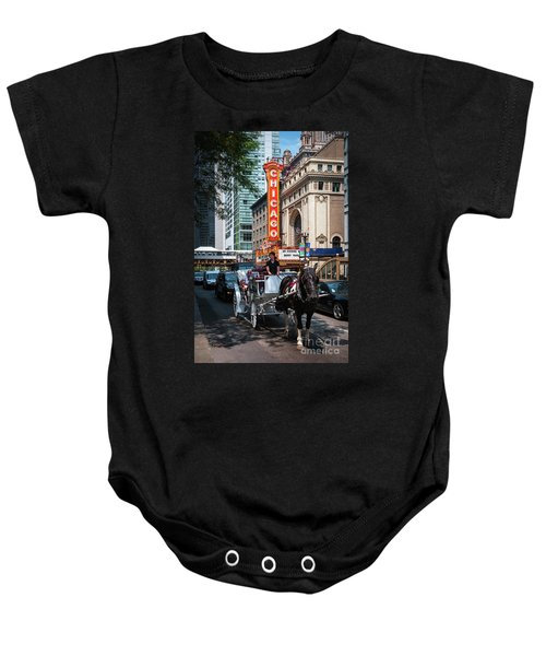 The Iconic Chicago Theater Sign And Traffic On State Street Baby Onesie